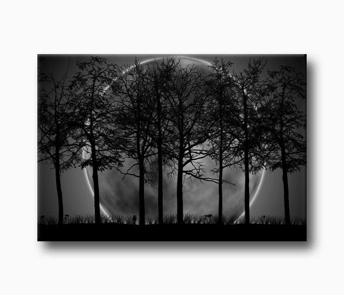 Dolunay Ağaçlar Yağlı Boya
