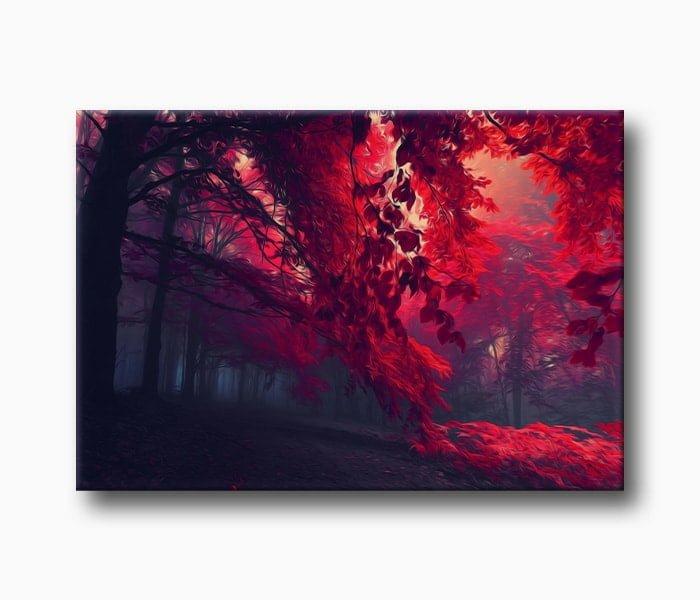 kırmızı yapraklı Muhteşem Orman Resmi