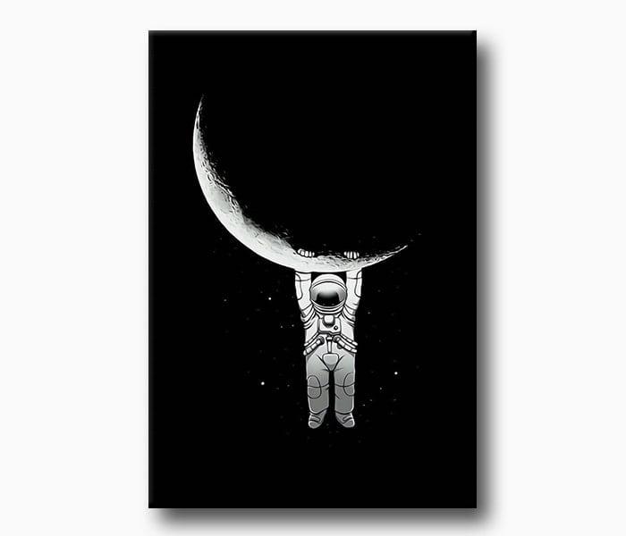 ay'da yaşayan astronot kanvas tablo
