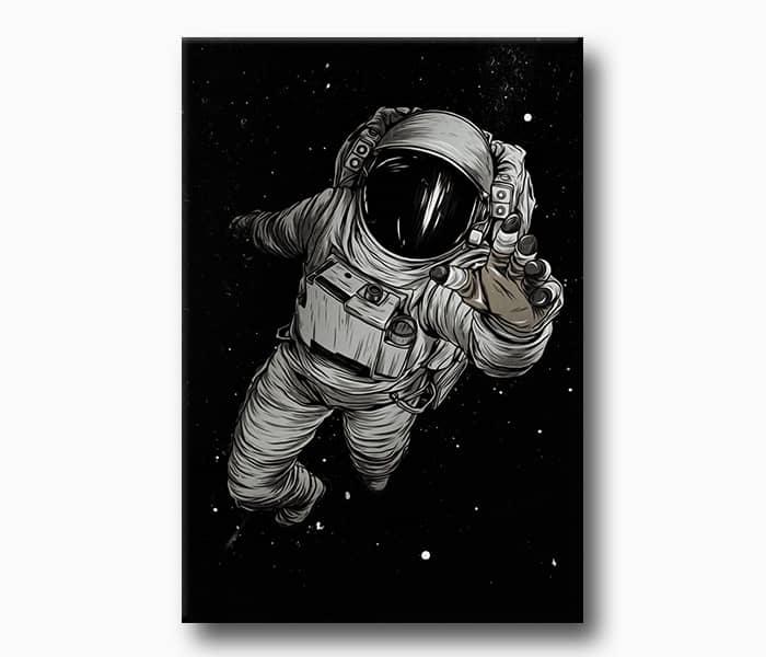 uzay boşluğunda astronot kanvas tablo