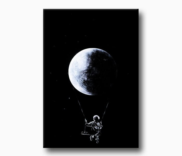 uzay ve çocuk kanvas tablo