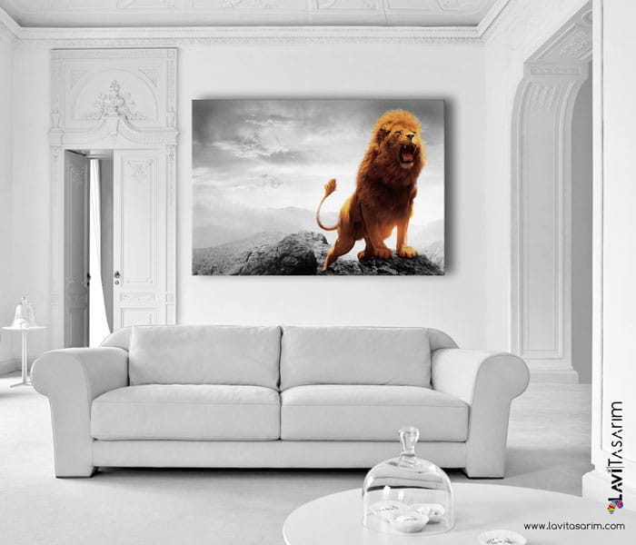 aslan kanvas tablo lavi tasarım