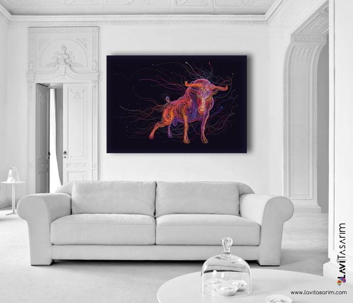 boğa kanvas tablo, lavi tasarım