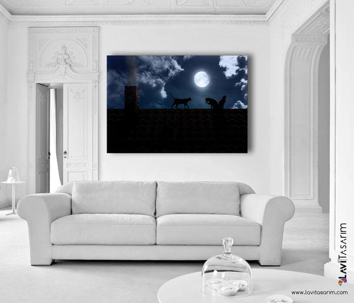 yağlıboya kedi tabloları, kediler kanvas tablo , lavi tasarım