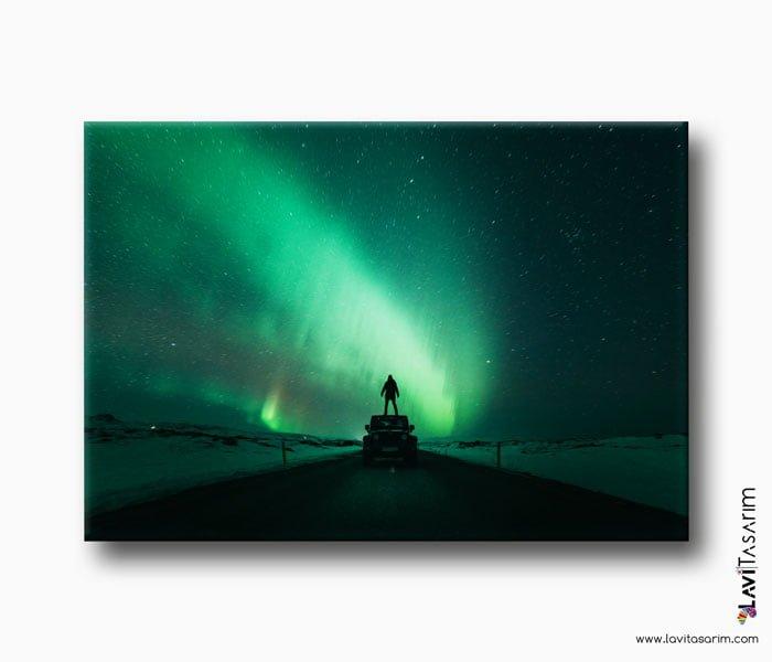 kuzey ışıkları kanvas tablo