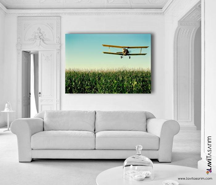 pervaneli uçak kanvas tablo lavi tasarim