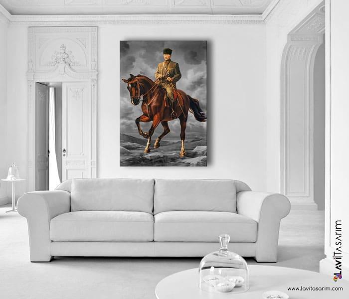 atatürk,lavi tasarım,atlı atatürk tablo