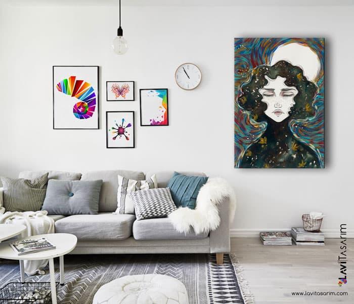 sürrealist kanvas tablolar,rapidograf,akrilik,mürekkep