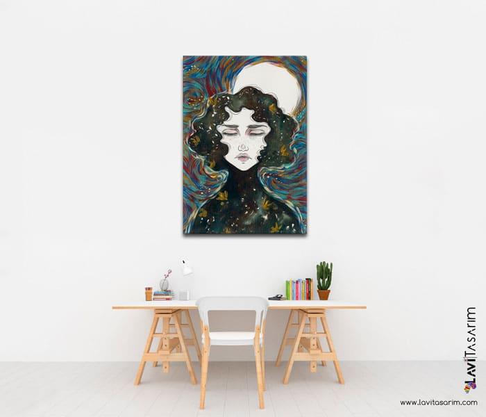 ay ve kadın resmi,sürrealist yağlı boya tablolar,lavi