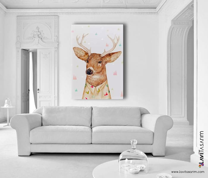 lavi tasarım,kanvas tablo,illüstrasyon tablo,beyaz kuyruklu geyik kanvas tablo