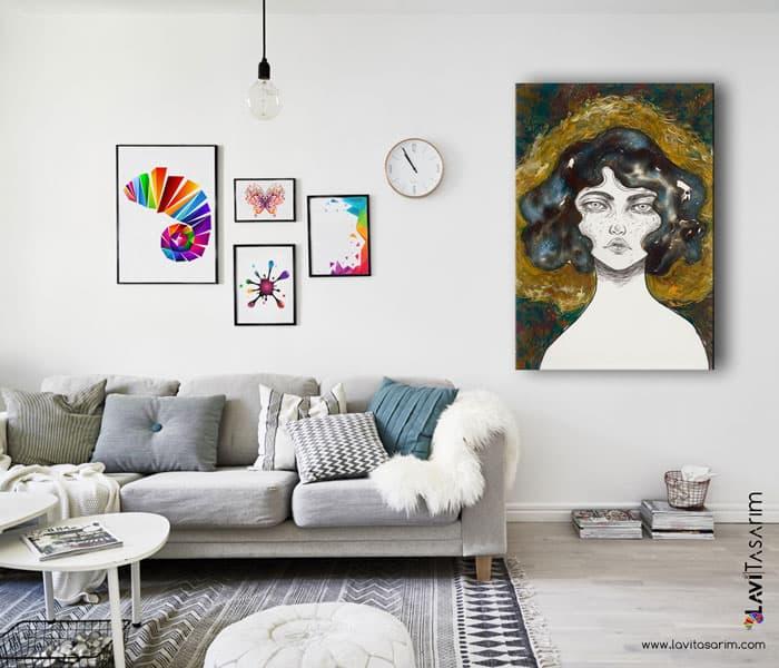 sürrealist kanvas tablolar,rapidograf,güzel kadın tabloları