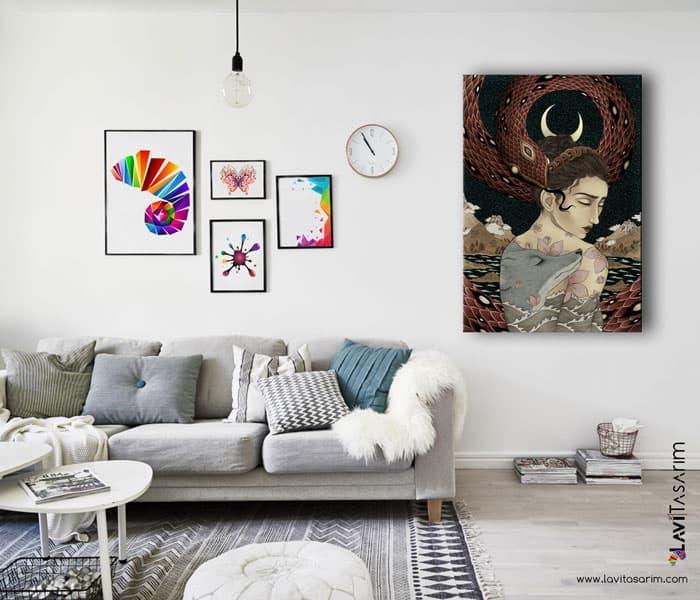 sürrealist kanvas tablolar,rapidograf,yılan,tilki, mavi
