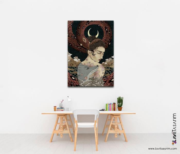 sakinlik,kanvas kadın tabloları,sürrealizm örnekleri