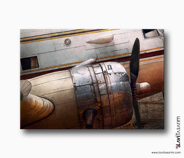eski uçak motoru kanvas tablo