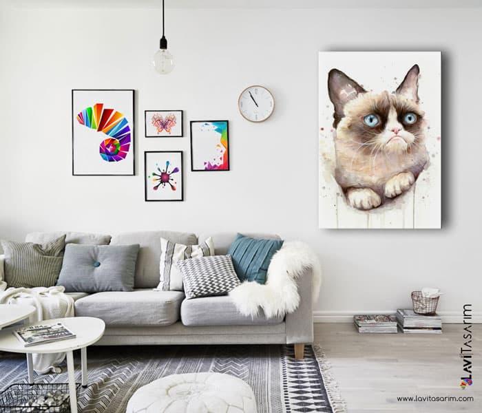 huysuz kedi kanvas tablo,grumpy kedi,huysuz kedi tablo