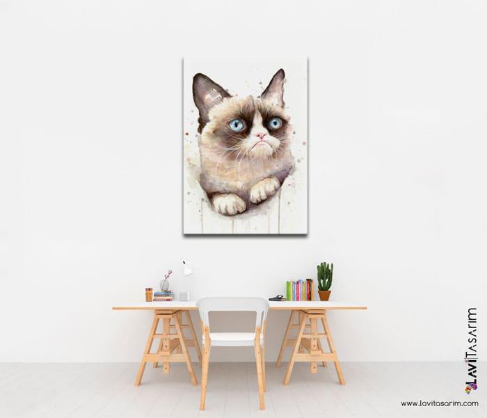grumpy kedi kanvas tablo,grumpy kedi tablo,kedi resimli tablolar,lavi