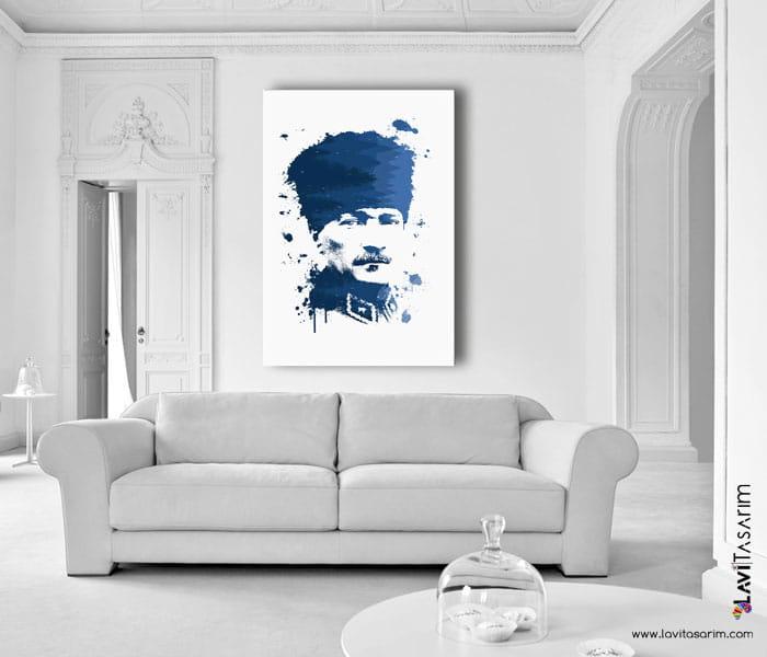 atatürk,lavi tasarım,kalpaklı atatürk portresi