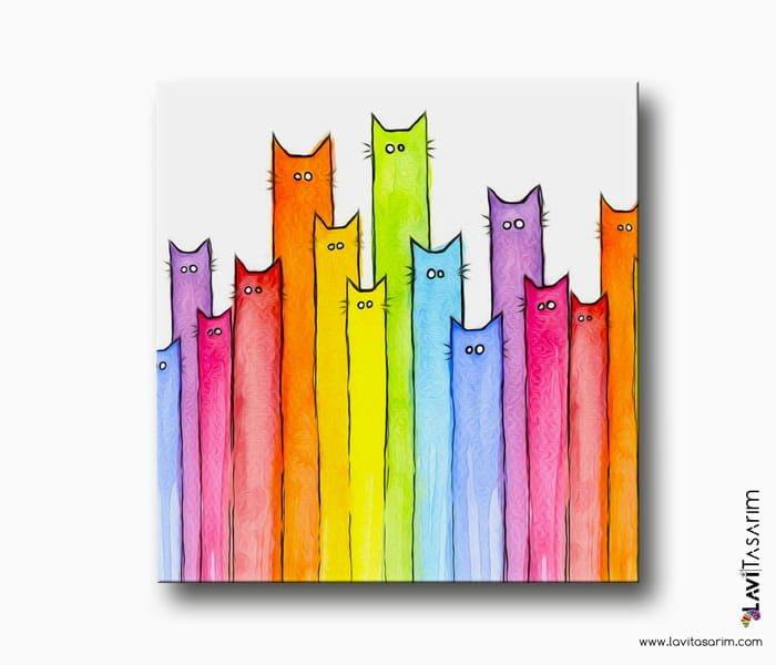 kedi gökkuşağı kanvas tablo