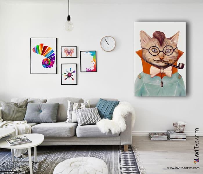 uzay gözlüklü kedi,kedi tabloları,komik kediler kanvas tablo
