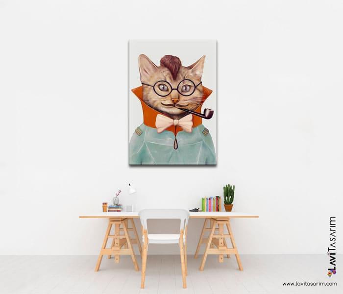 komik kediler,komik hayvanlar kanvas tablo,bolu tablo