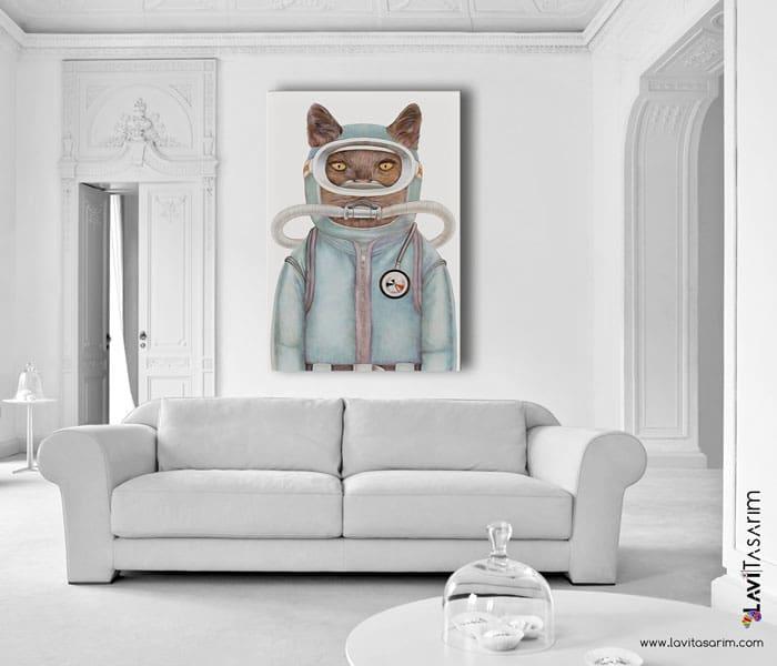 lavi tasarım,kanvas tablo,illüstrasyon tablo,kedi tabloları