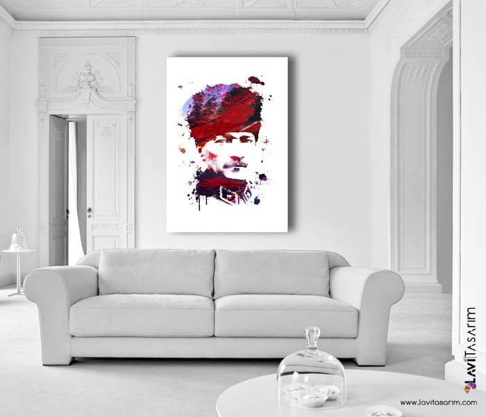 atatürk,lavi tasarım,mustafa kemal atatürk canvas tablo