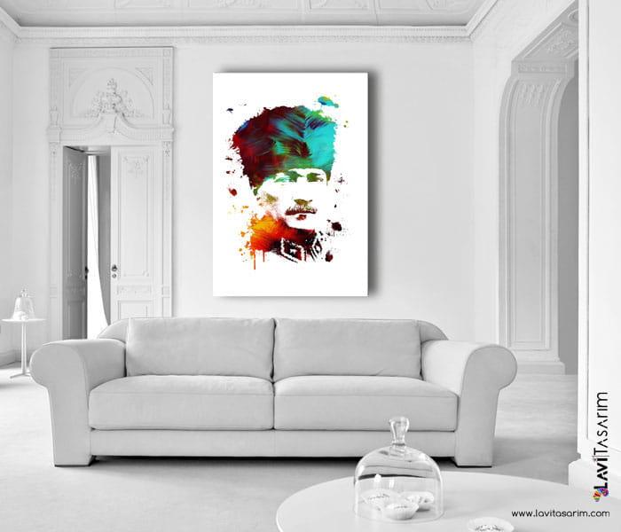 atatürk,lavi tasarım,renkli atatürk portresi tablosu