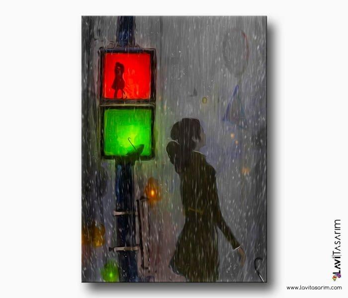 romantik yağmur kanvas tablo