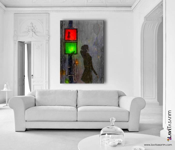Lavi Tasarım,yağmur sevgili tabloları,romantik yağmur tabloları