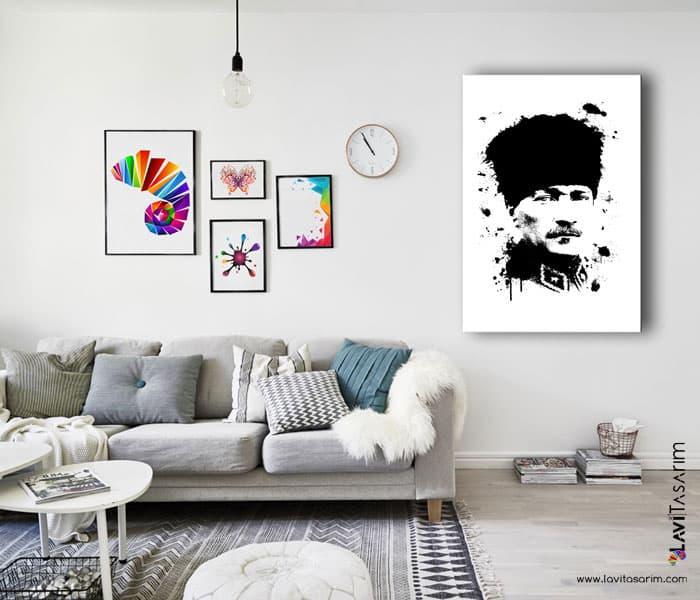 siyah beyaz atatürk portresi kanvas tablo,atatürk siyah beyaz kanvas tablo