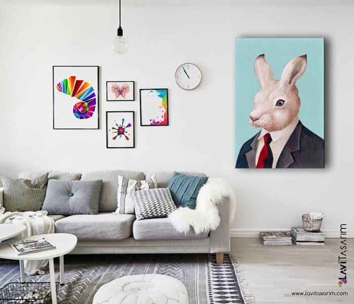 tavşan tablo,tavşan kanvas tablo,tavşan tabloları
