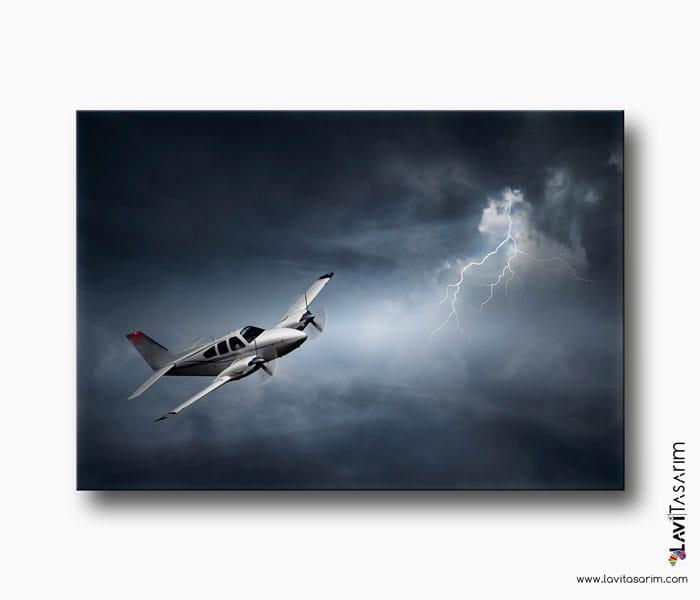 uçak ve yıldırım kanvas tablo