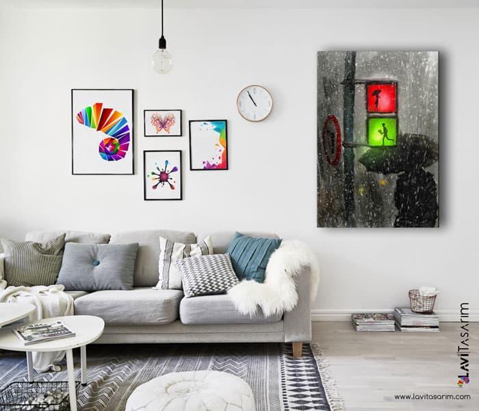 en güzel yağmur tabloları,yağmur ve sevgili tablo