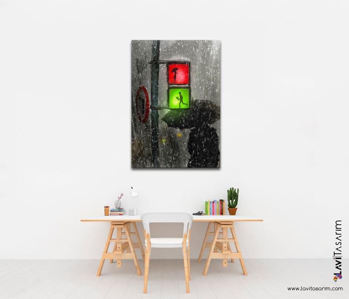 yağmurda romantik tablo,romantik yağmurlu tablolar